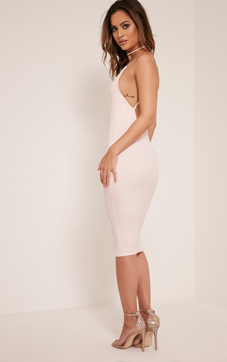 Ada Nude V Back Crepe Midi Dress 4