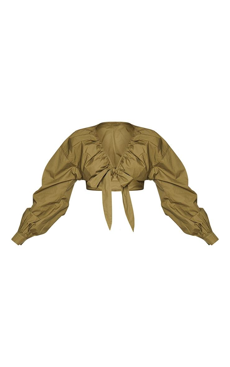 Plus Khaki Tie Front Ruched Blouse 5