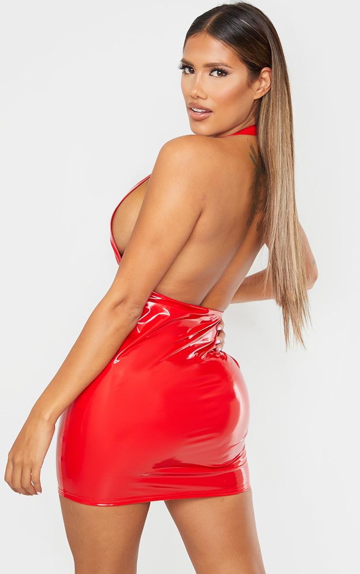 Shape Red Vinyl Halterneck Plunge Bodycon Dress 2