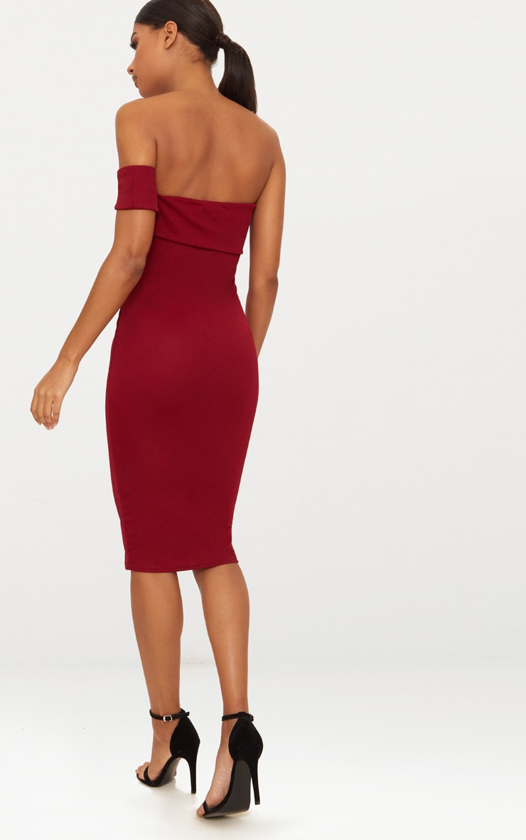 Burgundy One Shoulder Bardot Tie Detail Midi Dress 2