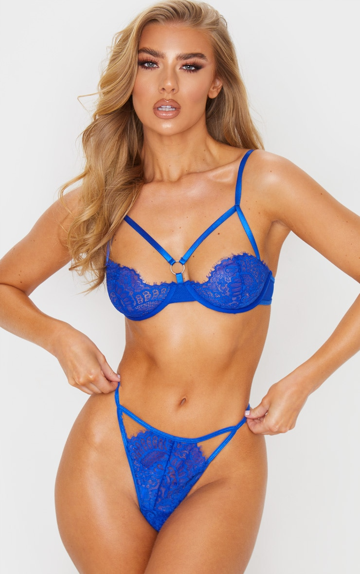 Cobalt Ring Detail Lace Underwired Balcony Bra 1