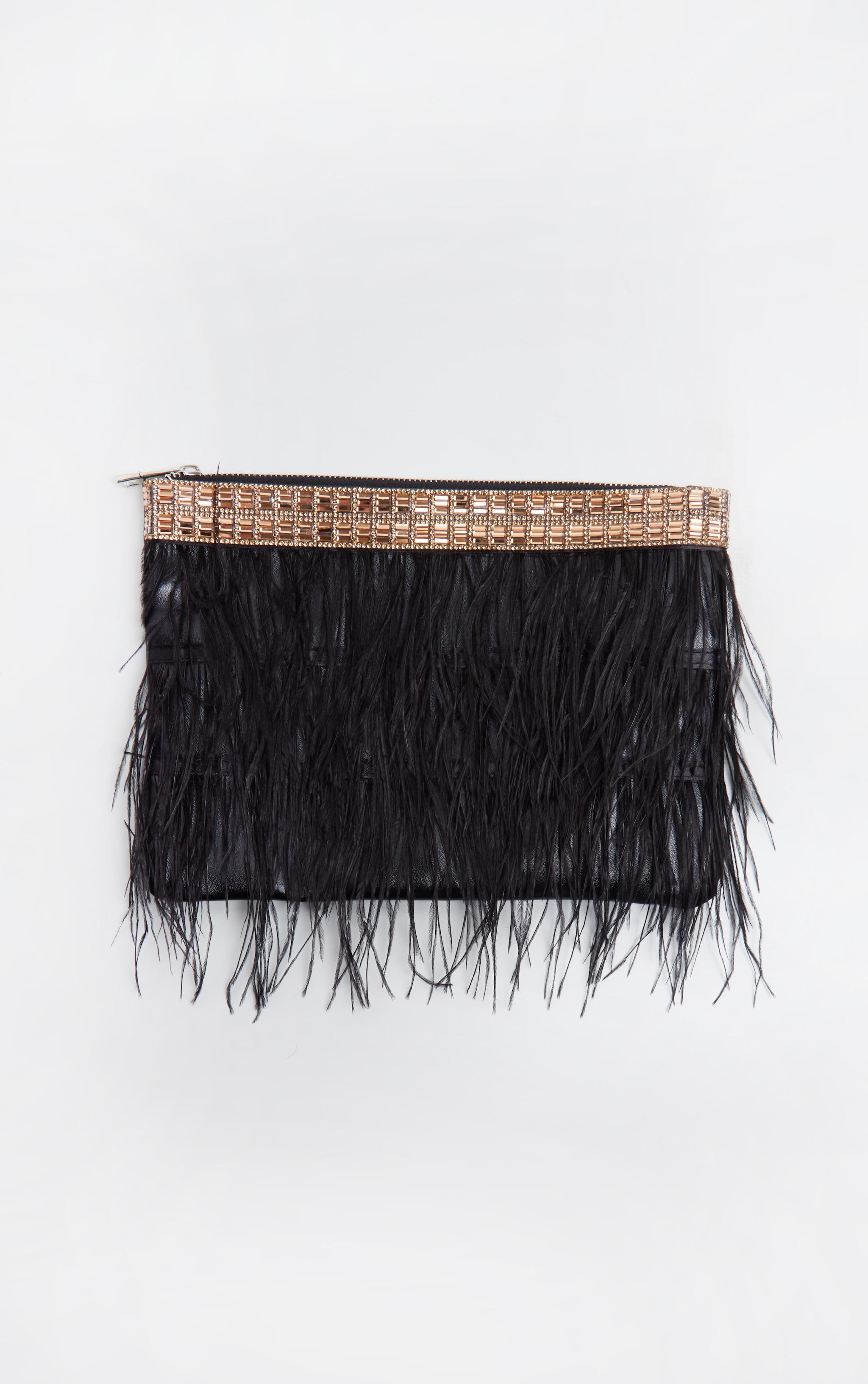Black Feather Diamante Border Clutch 2