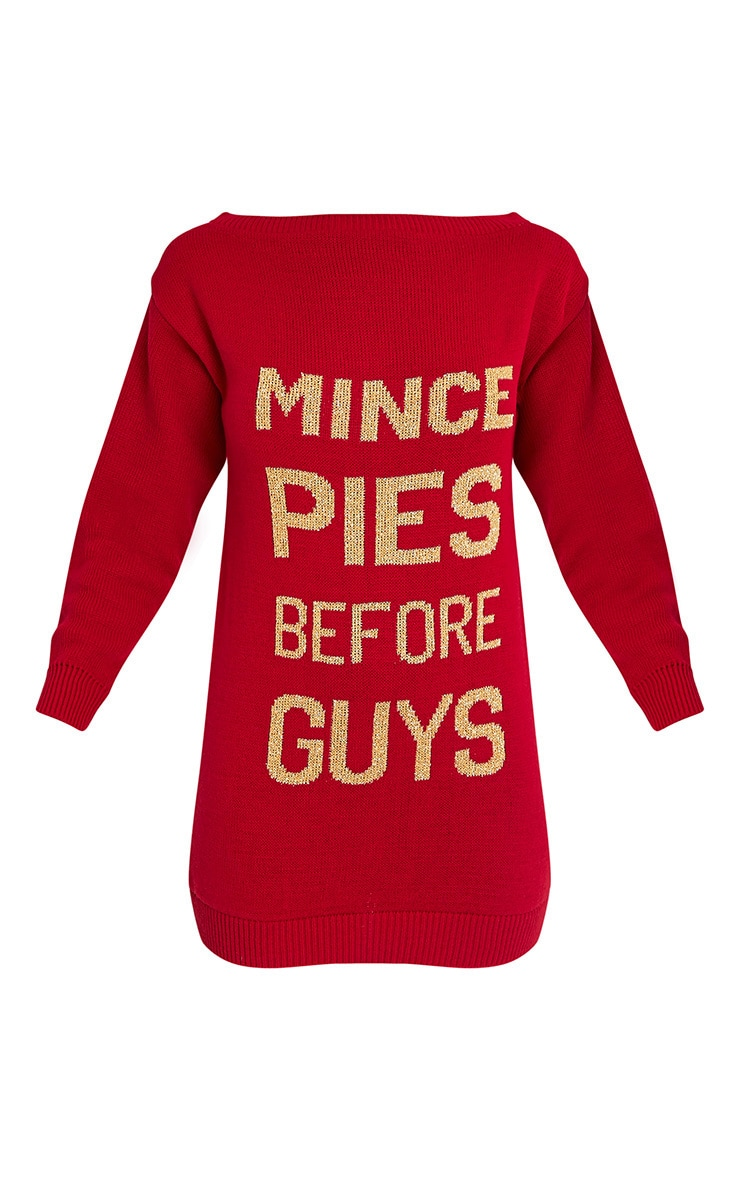 Mince Pies Before Guys Red Jumper Dress 3