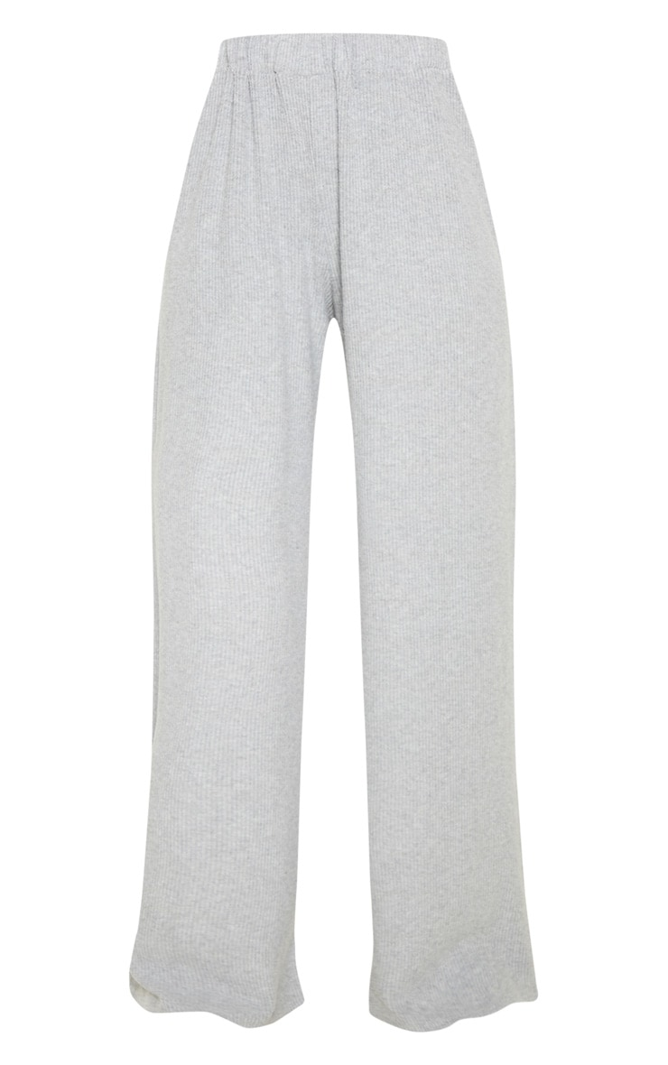 Light Grey Brushed Rib Wide Leg Trouser 3