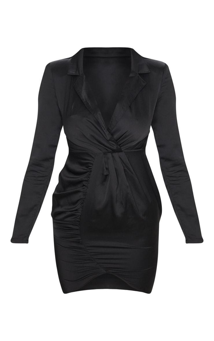 Black Satin Ruched Front Blazer Style Bodycon Dress 3