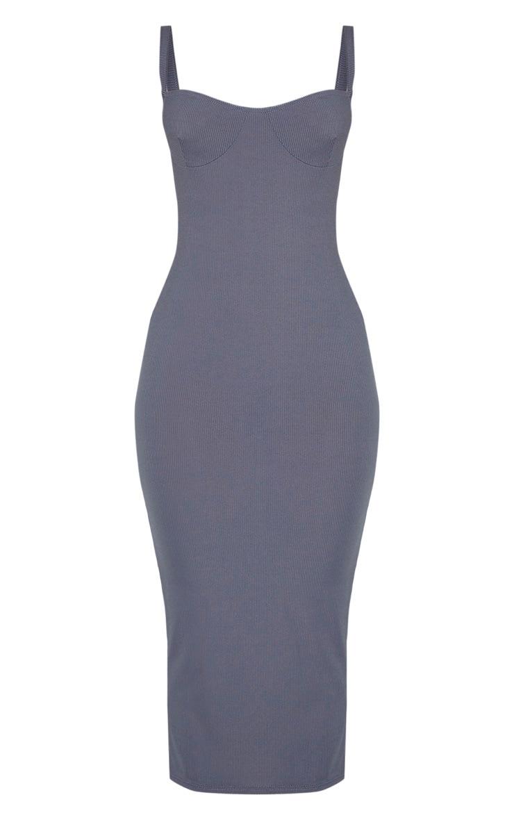 Grey Cup Detail Rib Midi Dress 3