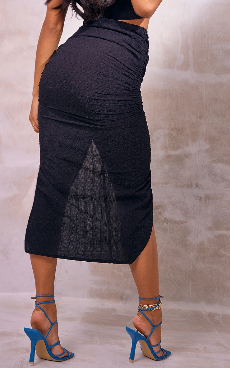 Black Woven Textured Ruched Split Front Midaxi Skirt 3