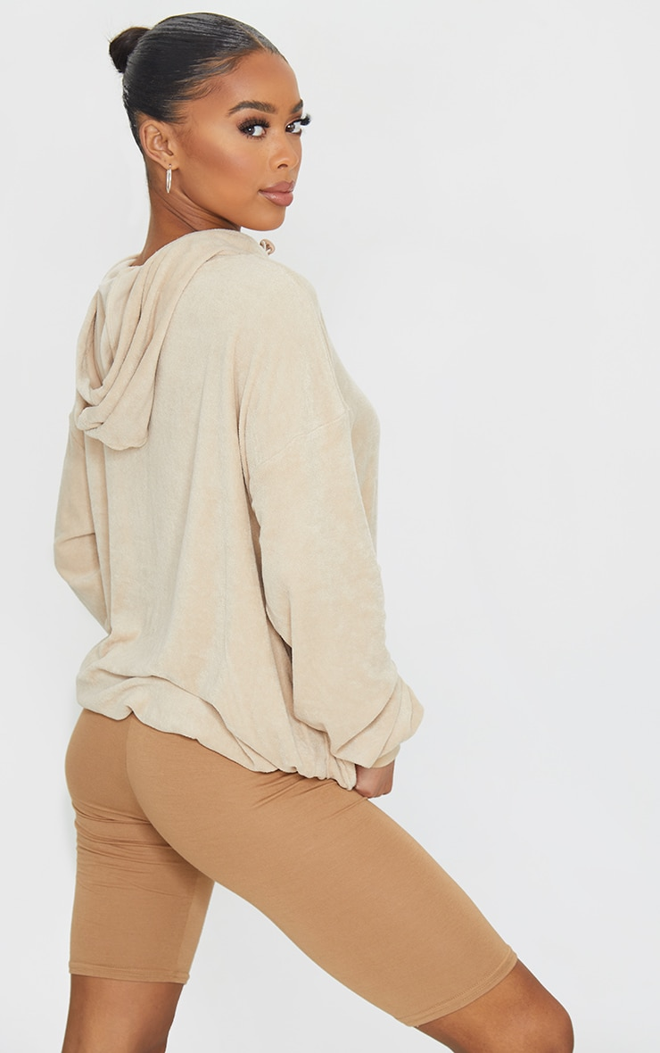 Camel Towelling Oversized Pocket Sweatshirt 2