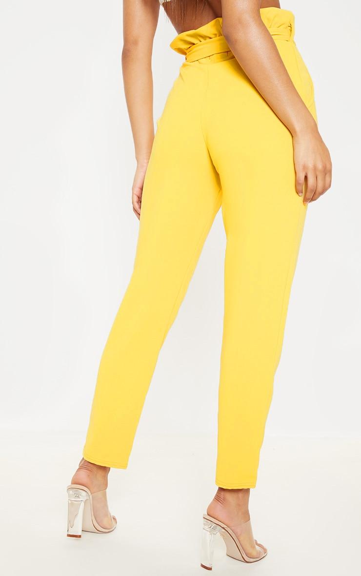 Mustard Paperbag Slim Leg Pants 4