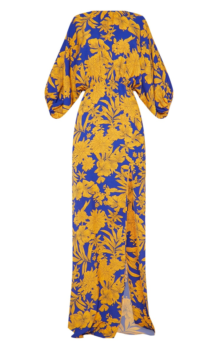Cobalt Tropical Print Batwing Sleeve Split Leg Maxi Dress 4