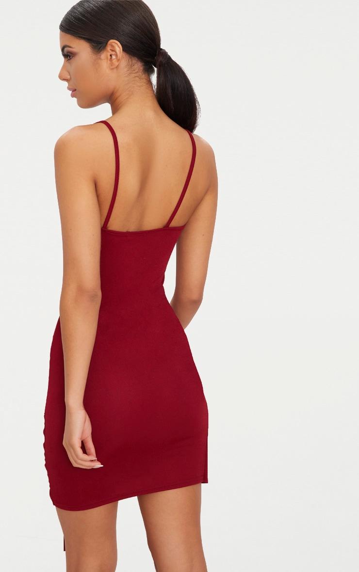 Burgundy Strappy Tie Hem Bodycon Dress 2