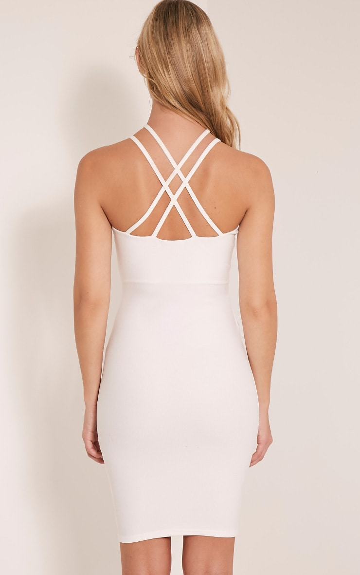 Alessy White Cage Detail Cross Back Bodycon Dress 2