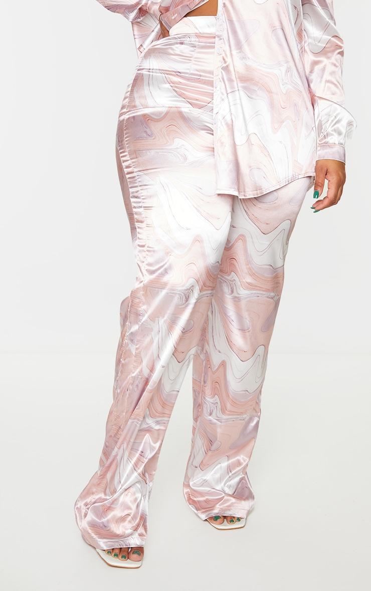 Plus Baby Pink Marble Print Wide Leg Pants 2