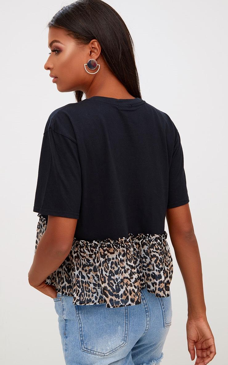 Leopard Print Frill Hem T Shirt 2
