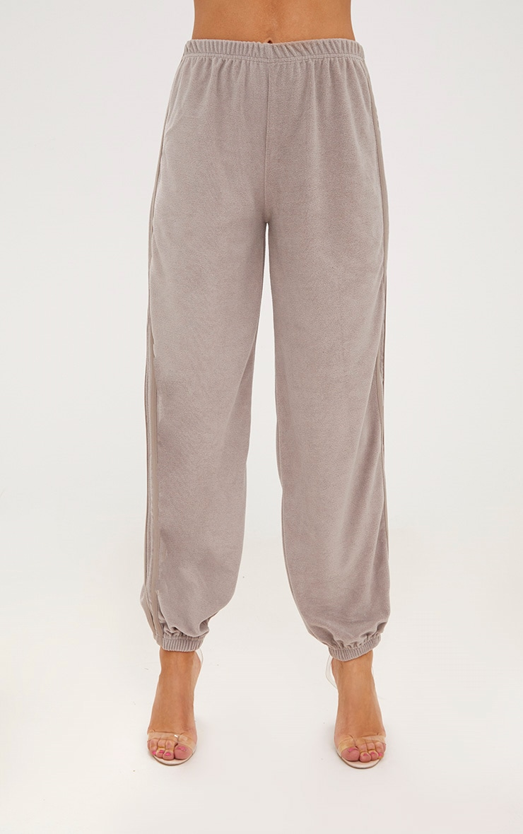 Taupe Velour Side Stripe Joggers  2