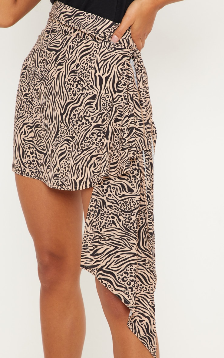 Stone Mix Print Waterfall Tie Detail Mini Skirt 5