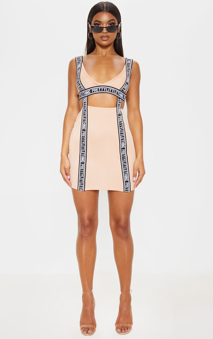 PRETTYLITTLETHING Fawn Tape Detail Cut Out Bodycon Dress 4