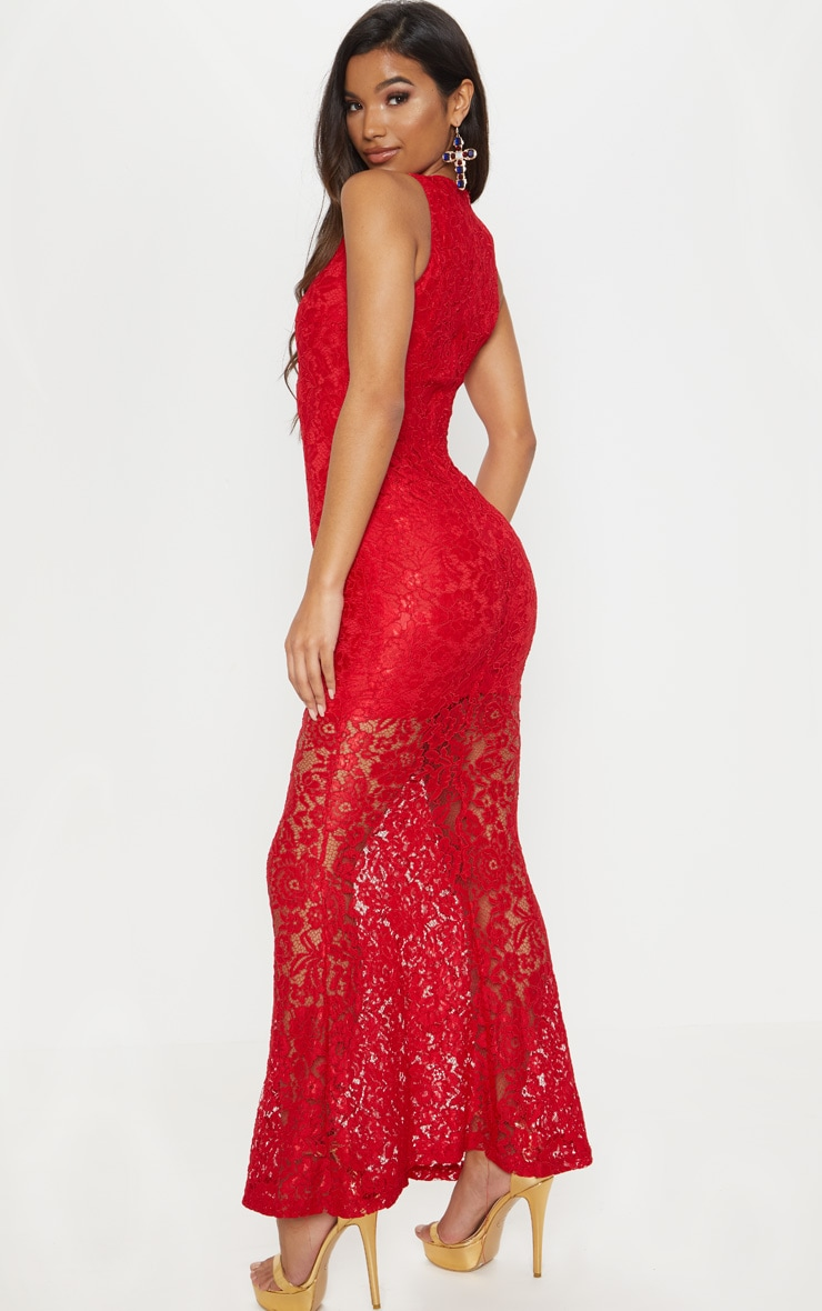 Tarra Red Lace Fishtail Maxi Dress 2