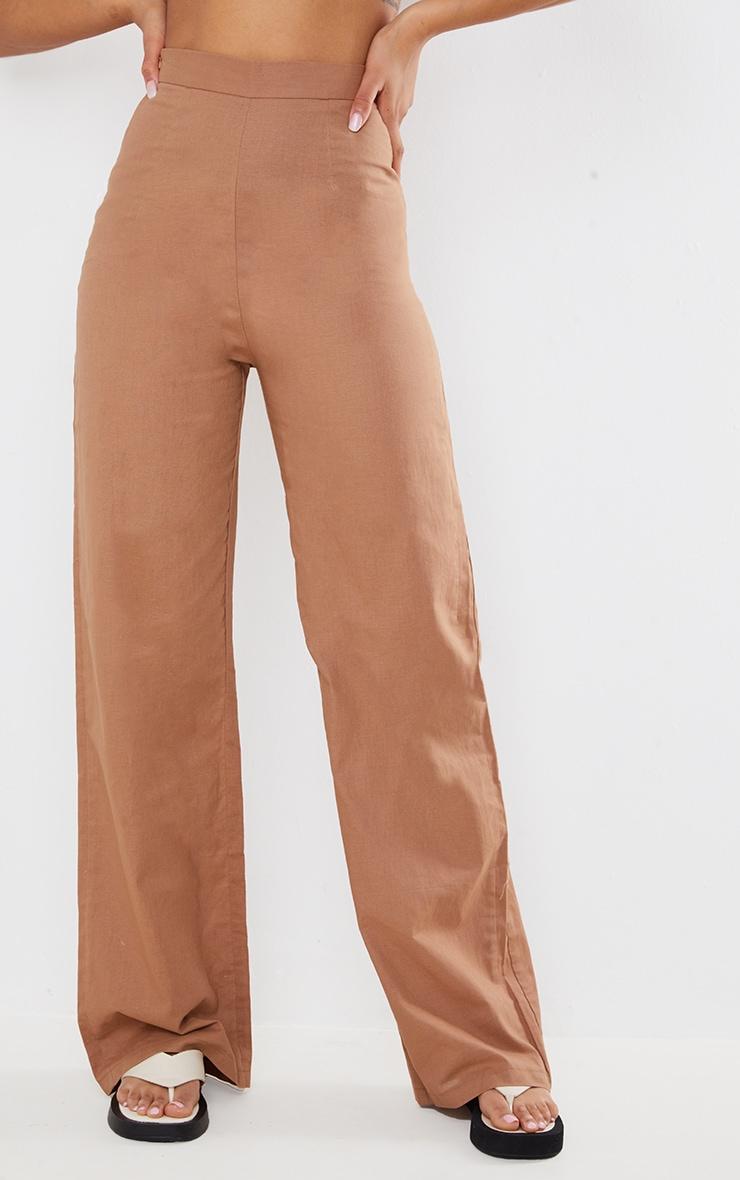 Mocha Linen Feel Wide Leg Pleated Trousers 2