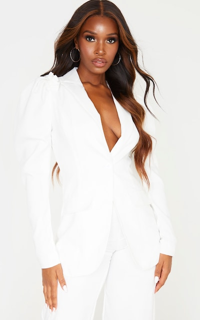 White Woven Puff Sleeve Fitted Blazer