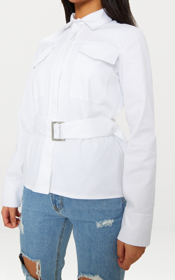White Military Buckle Pocket Detail Shirt  5