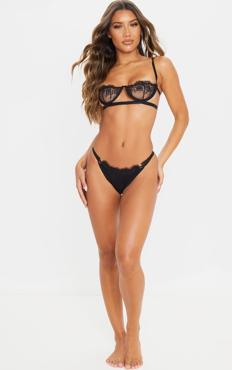 Black Ring Detail Underwired Lingerie Set 4