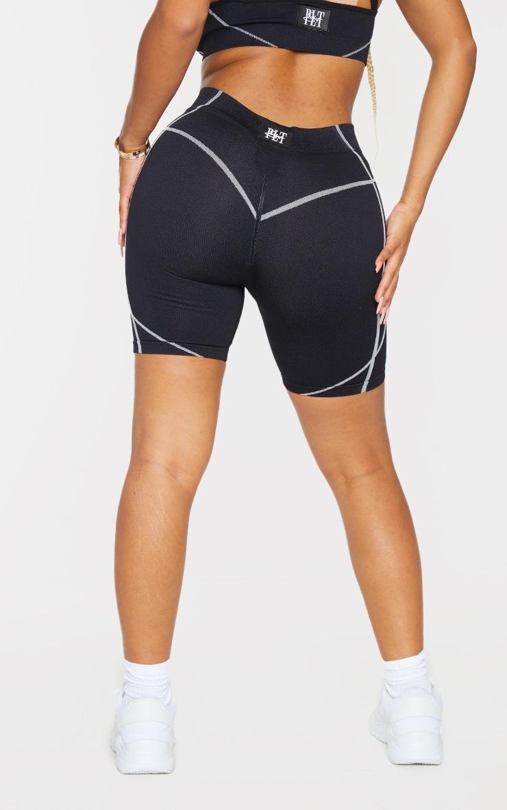 PRETTYLITTLETHING Shape Black Badge Gym Shorts 3
