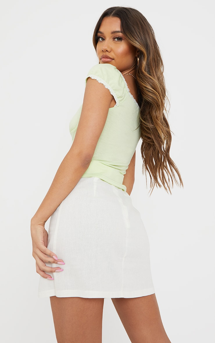 Lime Jersey Lace Frill Button Up Top 2