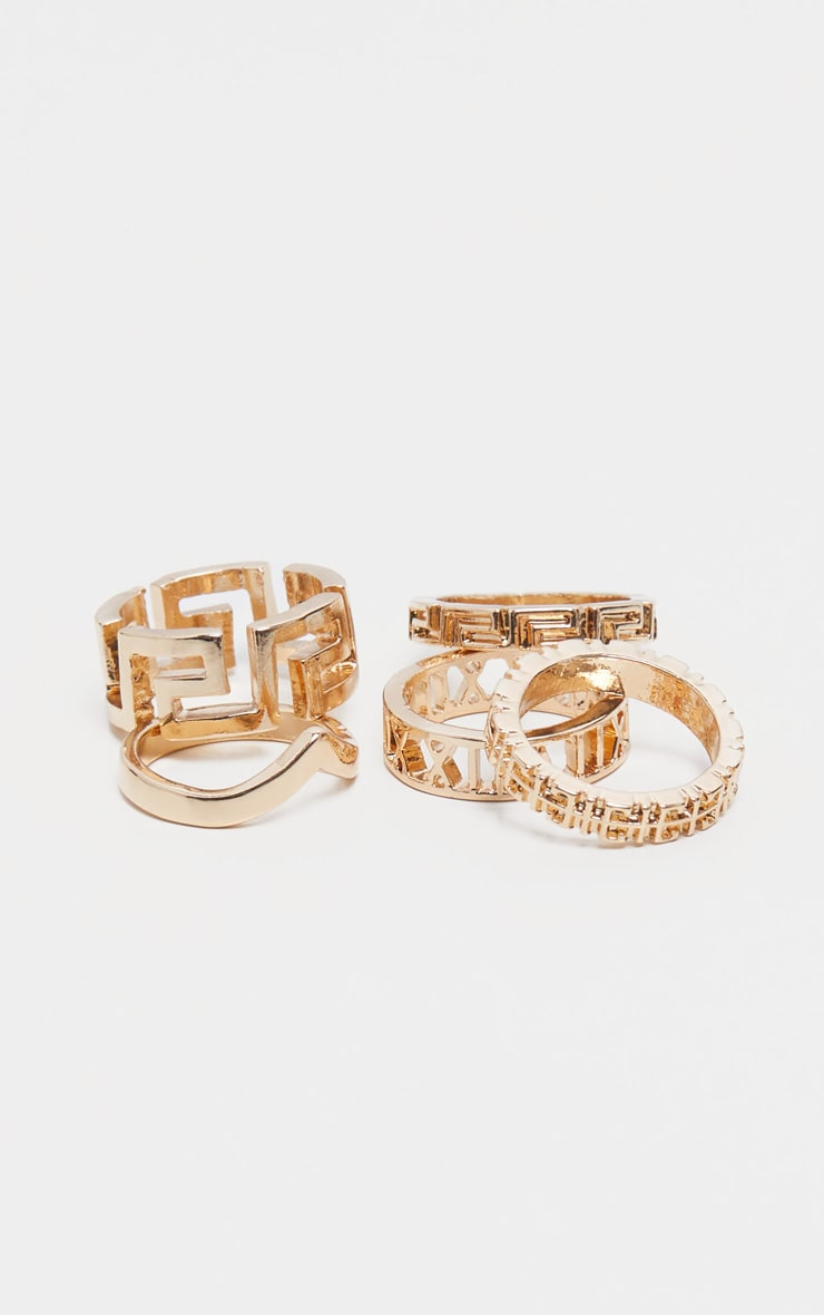 Gold Roman Multi Shape Five Set Ring Pack       2