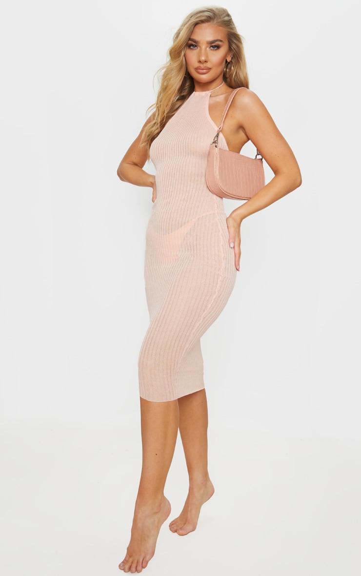 Peach Fine Knit Halterneck Midi Dress 1
