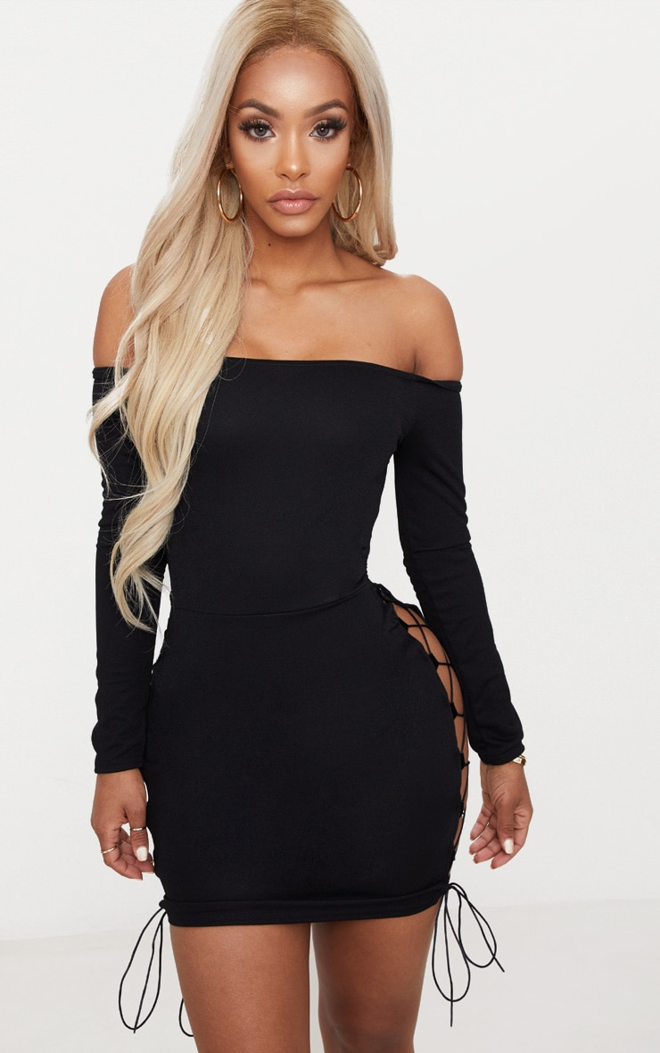 Shape Black Lace Up Detail Bardot Bodycon Dress 4