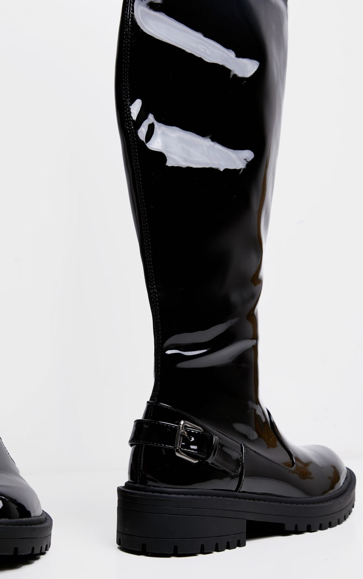 Black Vinyl Cleated Flat Over The Knee Boot 4