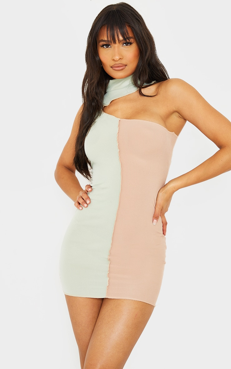 Sage Green Rib One Shoulder Contrast Panelling Overlocked Midaxi Dress