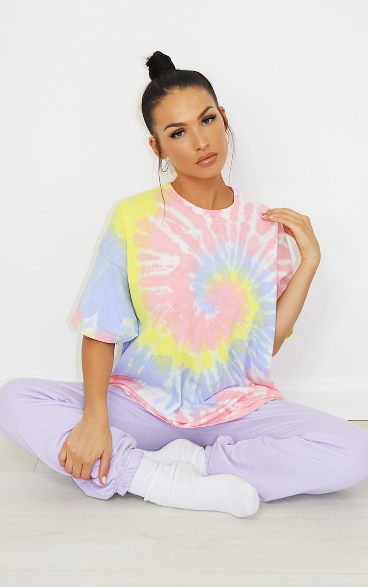 Baby Pink Tie Dye Oversized T Shirt 1