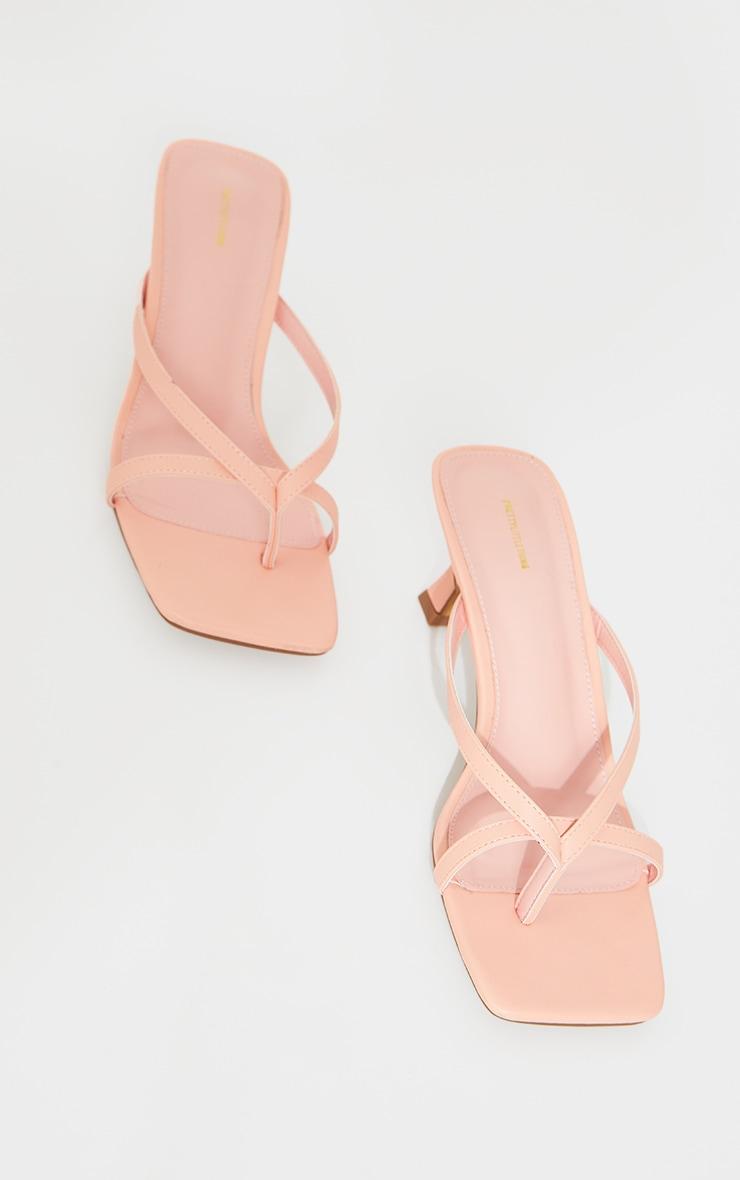 Peach PU Square Toe Thong Strap Low Heeled Mule Sandals 4