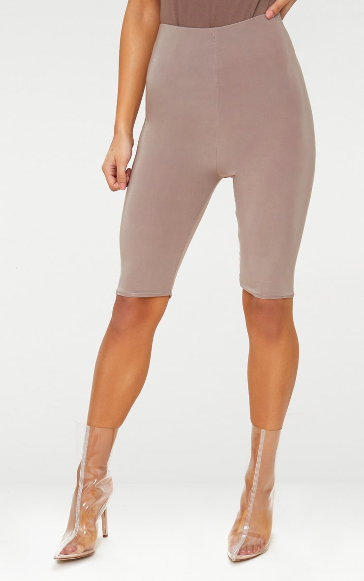 Taupe Slinky Longline Cycle Short  2