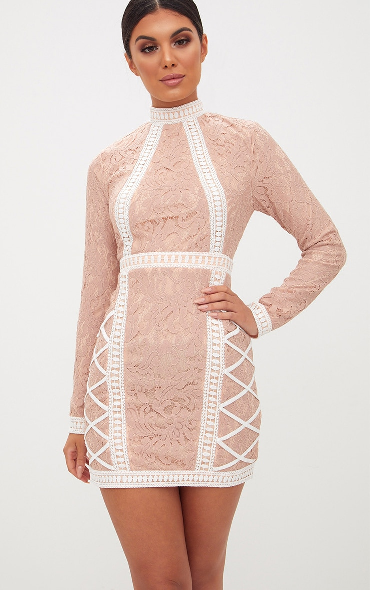 Nude High Neck Lace Lattice Detail Bodycon Dress