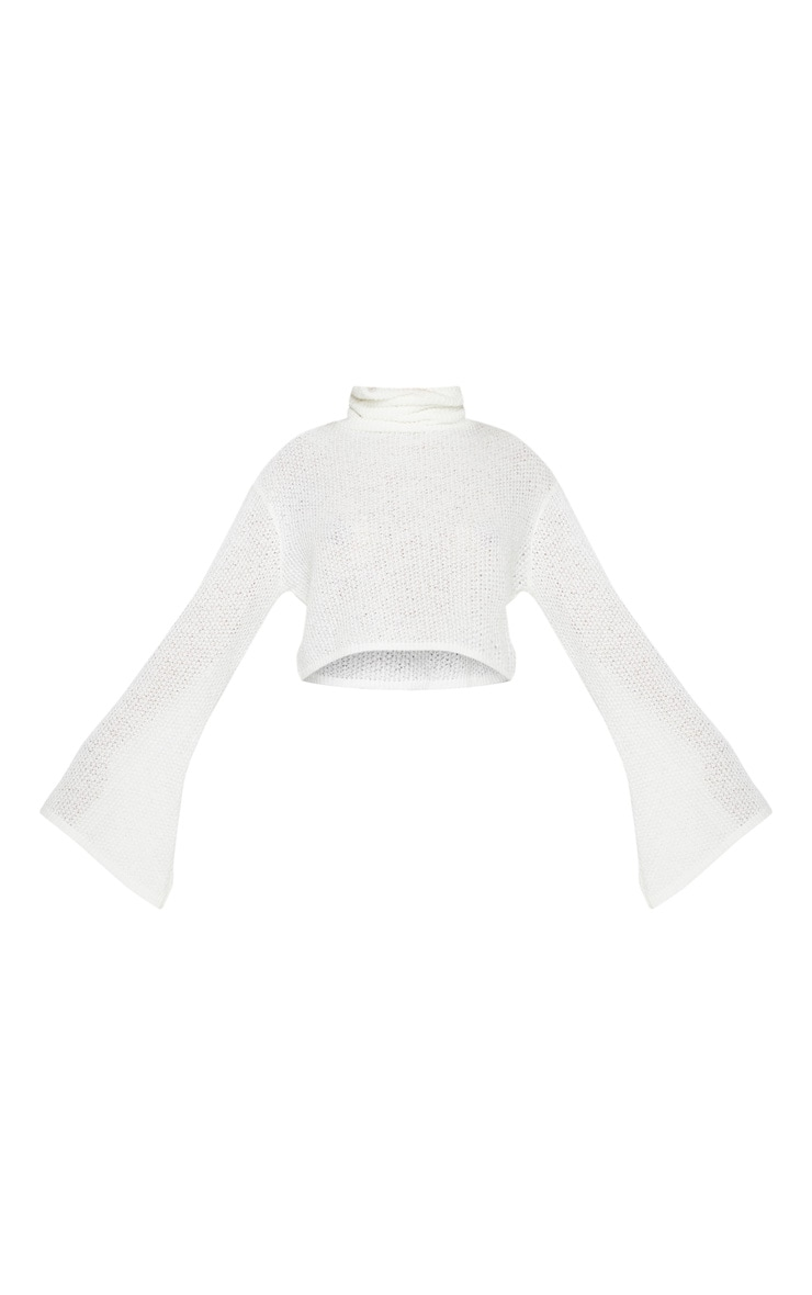 Cream Knitted Roll Neck Cropped Sweater 3