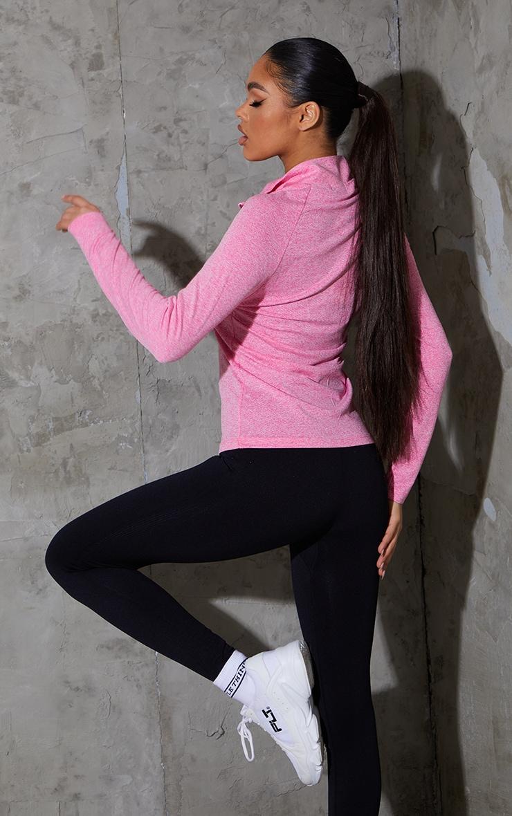 Pink Long Sleeve Airtex Marl Zip Up Jacket 2