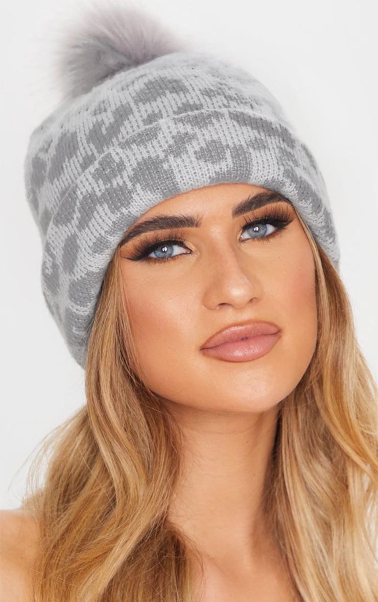 Grey Leopard Beanie Hat With Pom 1
