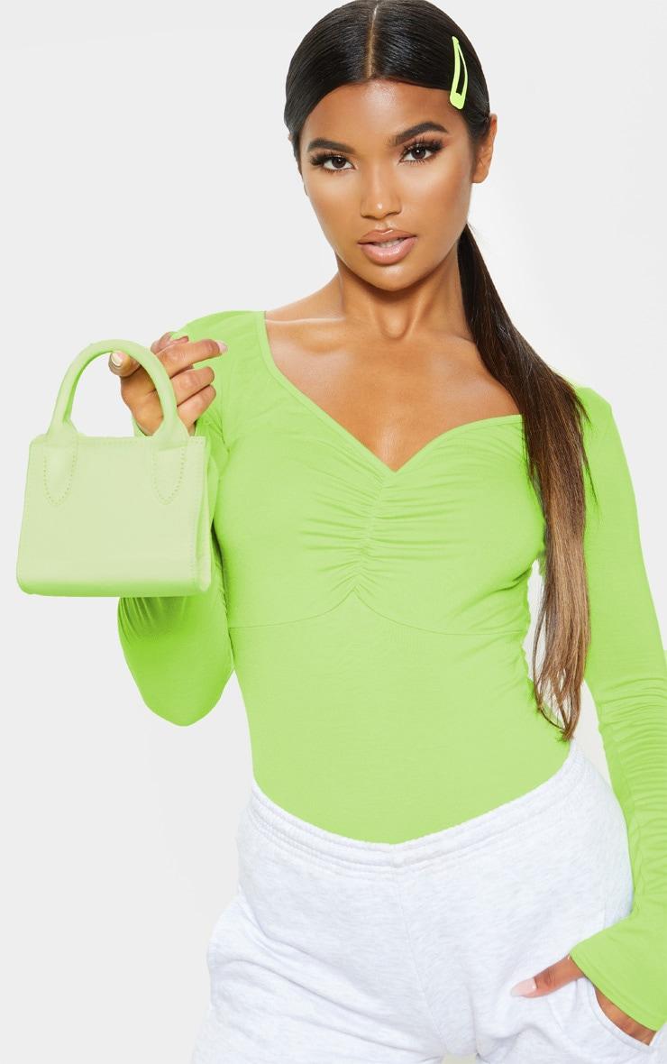 Mini-sac en nylon vert citron fluo à anse 1