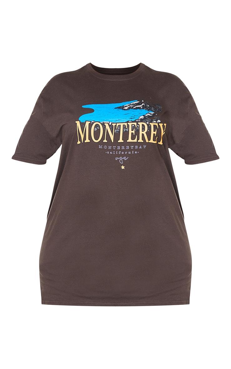 Plus Mocha Monteray Print T Shirt 5