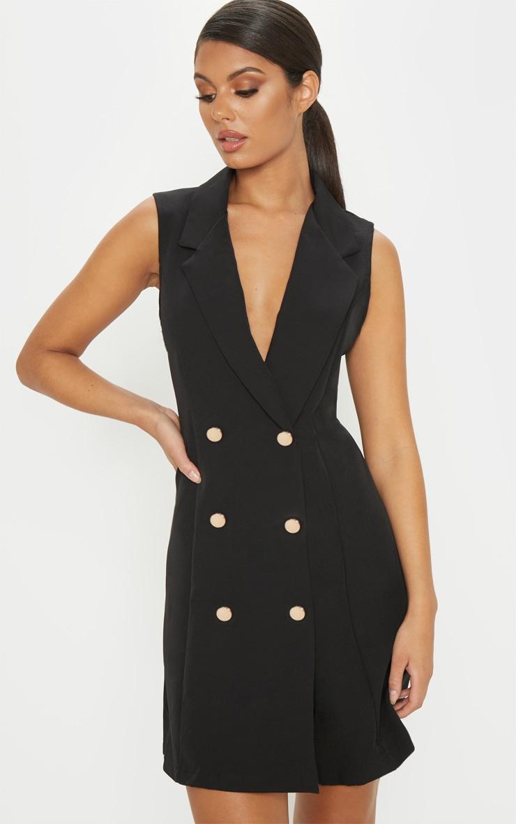 Black Sleeveless Blazer Dress by Prettylittlething