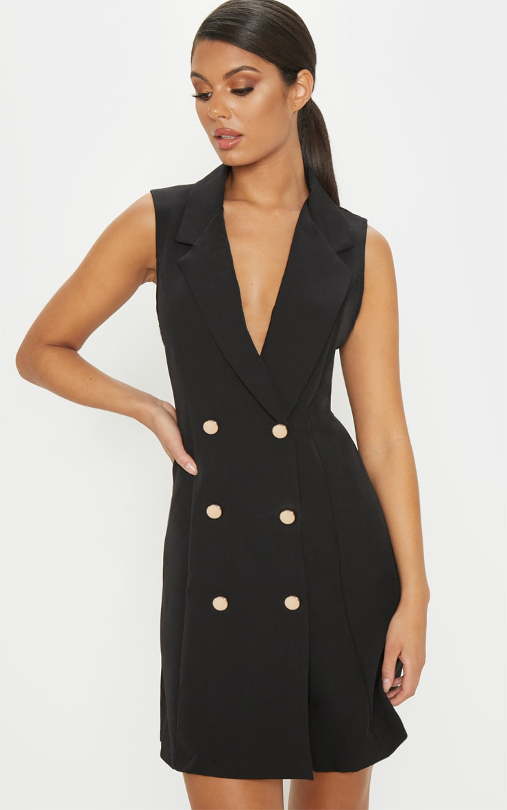 Black Sleeveless Blazer Dress 1