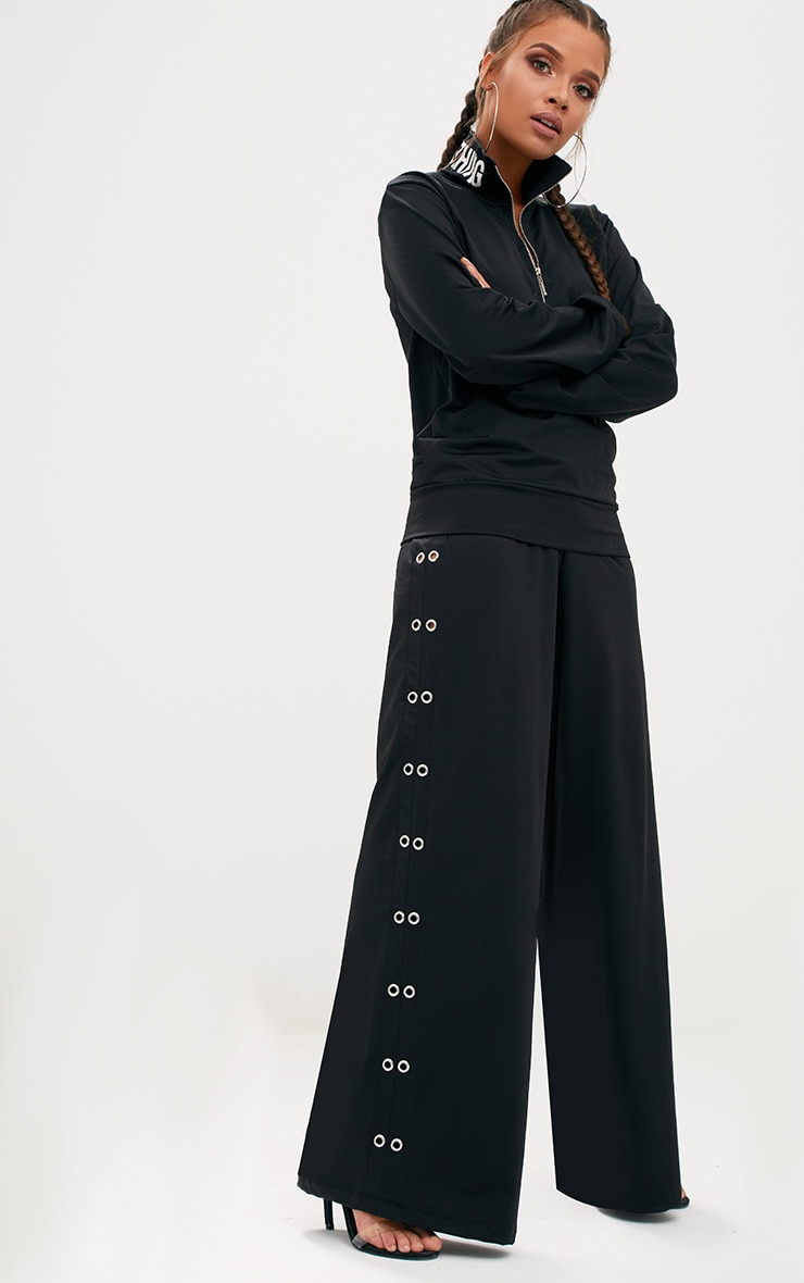 Black Wide Leg Eyelet Sport Trouser  1