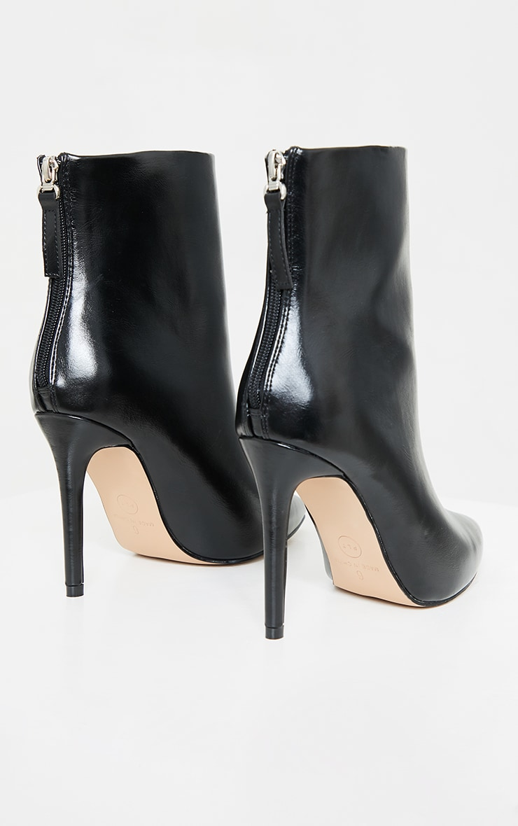 Black Wide Fit Mid Heel Pointed Ankle Boots 4