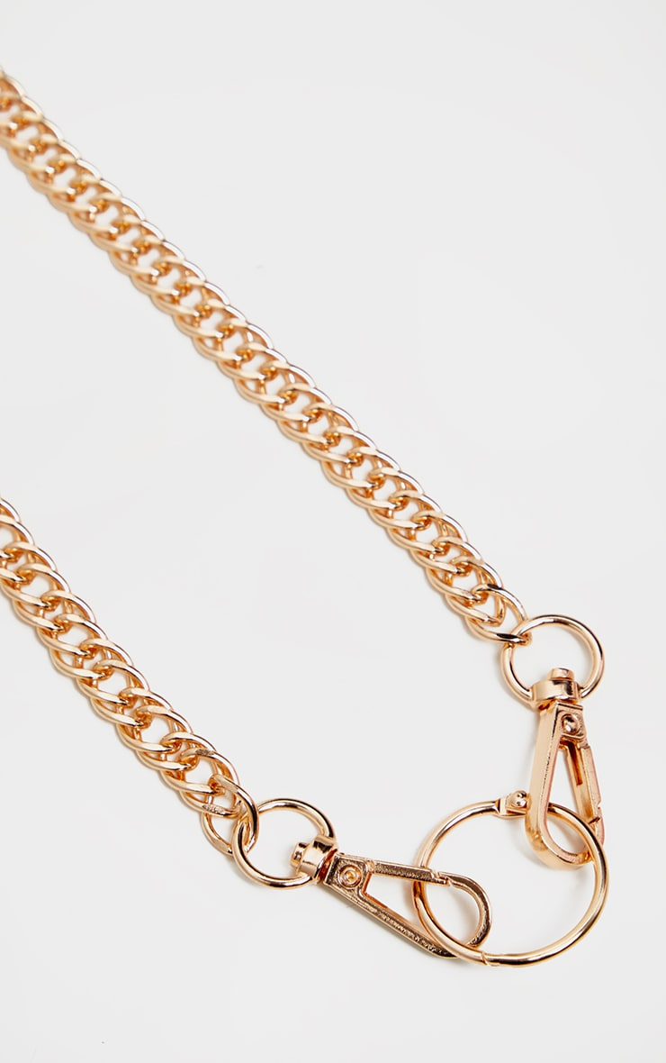 Gold Double Link Chunky Lobster Clasp Necklace 4