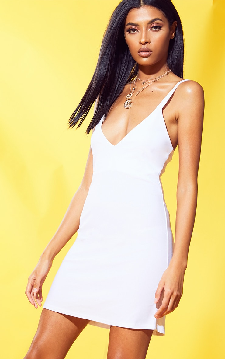 White Strappy Shift Dress 4
