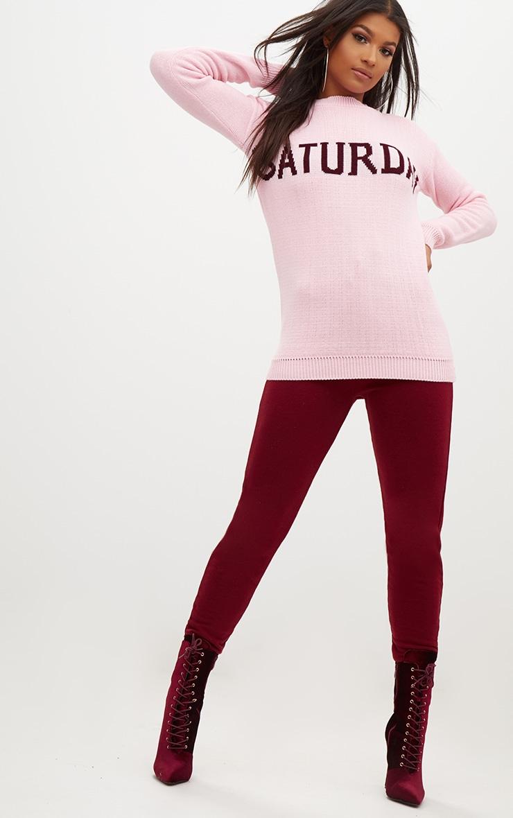 Pink Saturday Slogan Jumper 4
