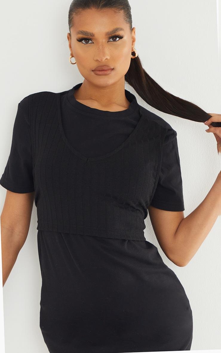 Black Rib Vest Wrap Detail T Shirt Dress 4
